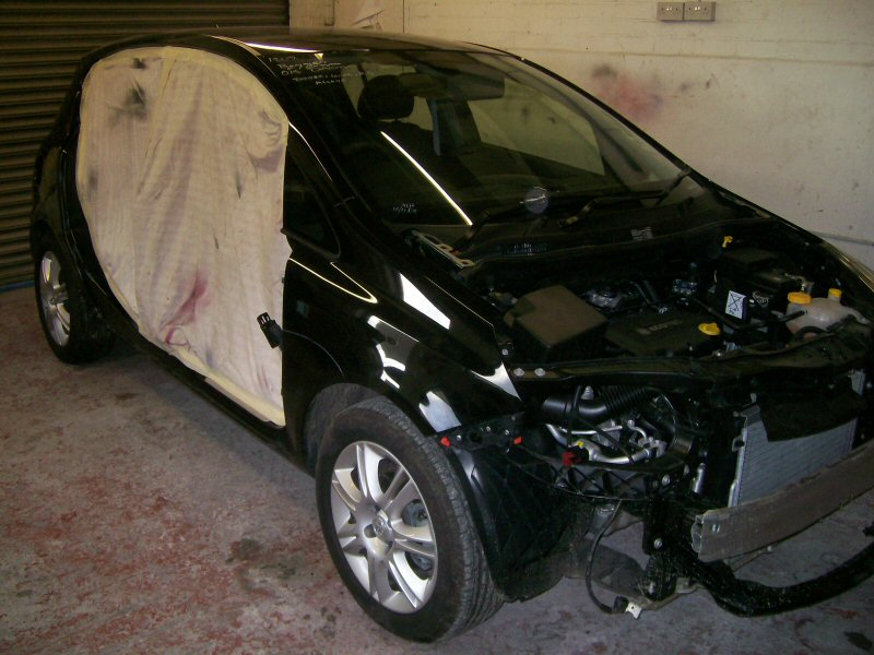 Vauxhall Corsa. Front and drivers side damage to '09 Corsa. Doors and bonnet replaced.